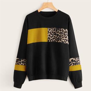 Para mujer leopardo diseño de impresión sudaderas remiendo de manga larga de las señoras de camisetas de la manera del color del contraste flojo Mujer Ropa