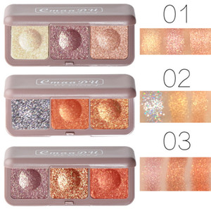 3 Color Makeup Eye Shadow Keyboard Fingertip Three-Color Mashed Potato Eyeshadow Mineral Shimmer Eyeshadow 12g