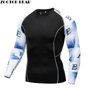 Letra E Hombres Medias de compresión Camisetas Fitness Bodybuilding MMA Tops Camisetas Hombre Traje de entrenamiento Hommes Camisetas de manga larga Camisetas delgadas