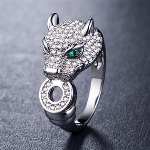 Классический дизайнер ювелирных изделий кольца Кристалл Leopard Глава Позолоченные Silver Lady Обручальное кольцо Мода Творческий подарок ювелирных изделий