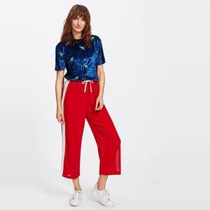 Women Casual Pantaloni a gamba larga vita alta Side Panel a righe con coulisse allentati pantaloni Harajuku pantalon grande femme pantaloni della tuta