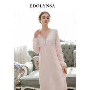 Nightgowns Sleepshirts 2019 Sleep Lounge Nachthemd Cute Nightgown Female Night Wear Solide Nachtwäsche Lace Home Dress # H562