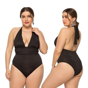 Cover-ups Tie Rope V-Neck Plus Size One-Piece Swimsuit Female Summer Sexy Backless Slim Fashion Beach Wading
