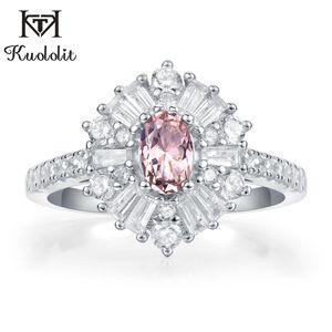 Kuololit Морганит драгоценный камень кольца для женщин твердые стерлингового серебра 925 рубин изумруд танзанит обручальные подарки изысканные ювелирные изделия
