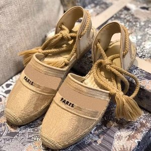 Designer Espadrille Wedge Sandalen Oblique EMBROIDRED Baumwolle Frauen-Absatz-Plattform-Schuhe Sommer-Luxus Runway Lace-up Sandalen 35-42 BOX