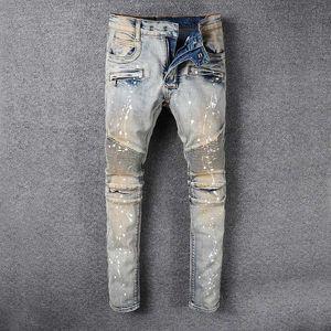 Rappresenta i pantaloni del designer di abbigliamento SLP BLU BLU Nero rosso distrutto da uomo Slim Denim Dritto Biker Skinny Jeans Men Strappato Jeans