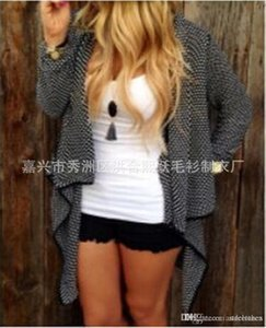 Womens autumn and winter fashion plus size sweater cardigan irregular body Long Ladies Cardigan Irregular Lapel Hem