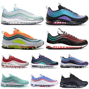 Nike Air Max 97 97s Shoes Hotsale Hommes Chaussures De Course NEON SEOUL Throwback Future London Été de l'amour Iridescent Triple Noir Femmes Entraîneur Sports Sneakers 36-45