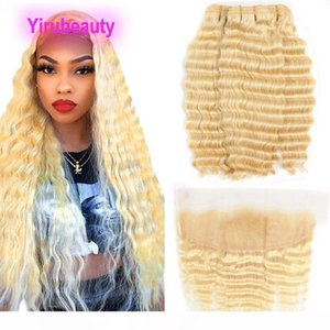 K Indian Raw Virgin Hair 3 Bundles With 13x4 Lace Frontal Blonde Deep Wave Curly 613 Color New Products With Baby Hair Ear To Ear Lace