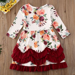 Christmas Toddler Kids Baby Girls Xmas Party Floral Ruffle Swing Dress Clothes