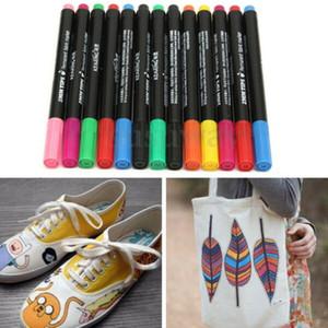 12 Multicolors Permanent Fabric Marker Pens White Board T-Shirt Cloth Shoes Textile Paint DIY Art School