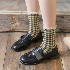 20190415 hot-selling novo todo-algodão pequeno quadrado rendas groove meias