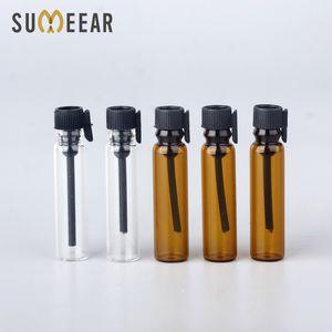 100Pcs lot 1ml Amber Glass Essential Oils Trial Pack Tube Perfume Bottle Transparent Glass Perfume Bottle Test Tube for Sample