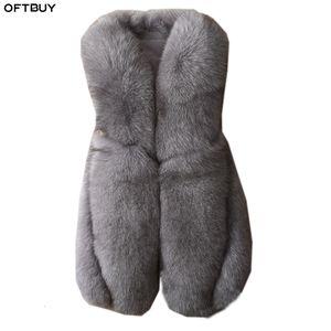 OFTBUY 100% real de piel de zorro chaleco delgado sin mangas de las mujeres chaqueta de abrigo con cuello en V Abrigo de piel natural caliente grueso de Calle Outwear 2019 Nueva T191113