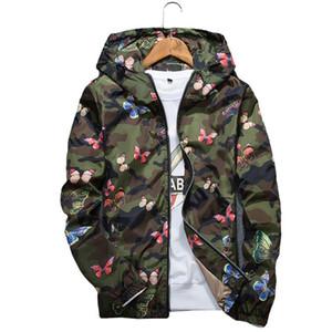 Diseñador Mens ocasionales camuflaje chaqueta con capucha del nuevo otoño de la mariposa Impresión capa encapuchada rompevientos hombres de la ropa masculina Outwear