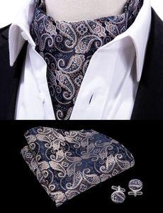 Hi-Tie Men Vintage Luxury Wedding Formal Cravat Ascot Scrunch Self British style Gentleman Polyester Neck Tie AS-0017