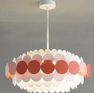 Nordic kreative Farbe Metallfarbe Scheibe Pendelleuchte moderne Kinderschlafzimmer Dekoration LED E14 Hängerohrbefestigung LLFA Beleuchtung