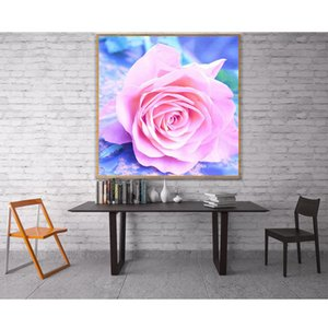 wholesale 5D Pink Rose Flowers Full Diamond Painting cross stitch kits art High Quality Floral 3D paint by diamonds