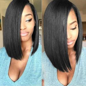 Longa reta de seda Densidade Perucas Cosplay BOBO cabelo Raw Cabelo CLIP top Headwear Oriente Moda Preto Em Hairpieces partido macio Lace Wigs