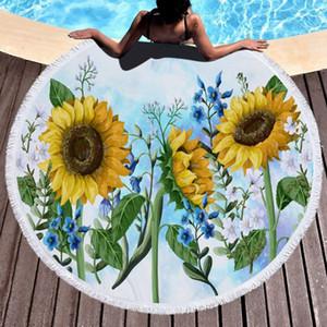 SunflowerBeachTowelsMicrofiberRound Beach Blanket Püskül Yüzme Havlu Çocuklar 12 WZW-YW3374 Tasarımları Mats Kadınlar Şal Açık Piknik Kilim oyna