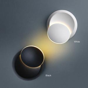 Lámpara de pared LED Rotación de 360 grados luz de la mesita de noche blanca Lámpara de pared creativa negra Lámpara redonda moderna del pasillo moderno - Le54