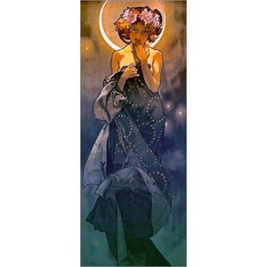 Decorative Art The Moon II by Alphonse Mucha oil painting Hand painted office room decor Large