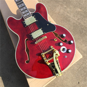 Custom Transparent Red Semi Hollow Jazz Electric Guitar Tremolo System Gold Schwarz Pickguard Palisander Griffbrett