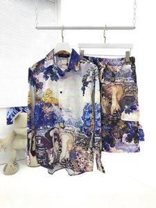 20ss paris moda fantezi yeni petrol boyama gömlek ve şort Günlük Sade Erkekler Kadınlar Çift gömlekler tee