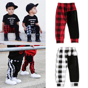 Kids Boys Lattice Pants Fashion Boutique Casual Children Plaid patckwork Elastic Trousers 2020 Spring Summer Baby Harem Pants LJJA3684-13