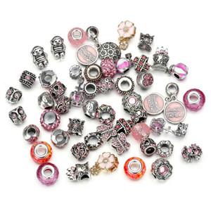Mezcla al por mayor 50pcs / set joyería de alta calidad de plata del encanto del grano de cristal de Murano Beads Fit Pandora pulsera DIY