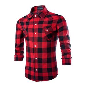 JAYCOSIN dei nuovi uomini di Rosso Nero di flanella a quadri a maniche lunghe sociale Masculino autunno bottone della camicia Casual Top