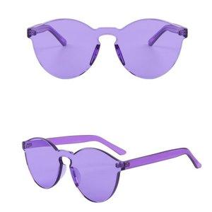 Runde form sonnenbrille frauen randlose rahmen farbton klare linse bunte sonnenbrille outdoor brillen 8 farben 9803