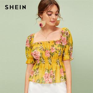 Shein Çiçek Fırfır Trim Peplum Top Kadınlar Yaz Flared Büzgülü Bluz Boho Zencefil fırfır Hem Kadınlar Tops ve Bluzlar yazdır