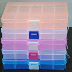 1 UNID Plástico 15 Ranuras Ajustable Caja de Almacenamiento de Joyas Craft Organizer Beads Multifuncional desmontable 15 rejilla caja de almacenamiento de joyas