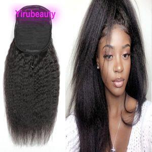 Pontails Brésilien Vierge cheveux crépus droite 100g Indien Malais péruvienne 100% Human Hair Extensions Kinky Ponytails droites 8-22inch