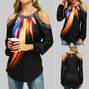 2020 fashion feminine temperament commuter digital print sexy shoulder hanging neck long sleeve woman T