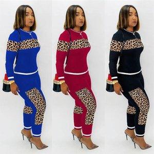 Pullover remiendo Leopard chándal Camiseta de las mujeres traje de dos piezas de manga larga camiseta + pantalones de las polainas Trajes otoño invierno traje ropa