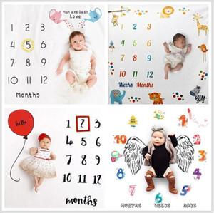 Yenidoğan Milestone Battaniye Bebek Fotoğrafçılık Arkaplan Dairesel Battaniye Bebek Çiçek Numarası Kundaklama Harf Kundak Wrap Yatak Odası Kilim C7032