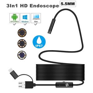 3 في 1 شبه صلبة USB كاميرا المنظار 5.5MM IP67 للماء الأفعى الكاميرا مع 6 بقيادة لنظام التشغيل Windows Macbook PC Android Endoscope