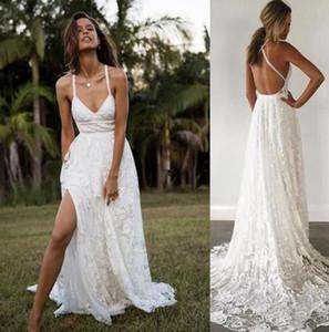 2019 Limor Rosen A-Line Lace Wedding Dresses sexy spaghetti split sweep Train Straps Vintage Garden Beach Boho Wedding Party Bridal Gowns