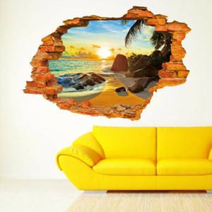 Duvar Çıkartması Çıkarılabilir Sanat Vinil Duvar Dekoru Ev Duvar Sticker Broken Moda Yeni 3D Sandbeach