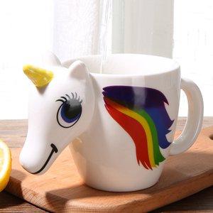 300ML 3D Color Changing Ceramic Mug Temperatura Unicorn latte del caffè del tè calda tazza di acqua Bicchieri Colore Novetly Regalo di Natale