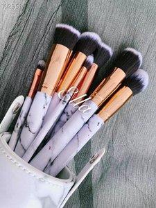 2019 nuevo maquillaje de la marca Look In A Box básico cepillo cepillos 10pcs / set set con grandes herramientas lápiz labial titular Forma maquillaje buen artículo