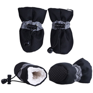 4pcs Waterproof Winter Pet Dog Shoes Anti-slip Rain Snow Boots Footwear Thick Warm For Small Cats Dogs Puppy Dog Socks Booties Dog Apparel