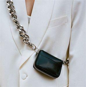 디자이너 럭셔리 어깨 가방 여성 두꺼운 체인 포켓 패션 대각선 크로스 동전 가슴 인 슈퍼 화재 미니 가죽 작은 가방 여성
