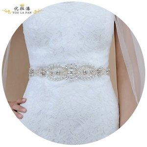 Wedding Sashes Bridal Belts Rhinestone Crystal Ribbon Prom에서 수제 화이트 블러쉬 실버 리얼 이미지 / 더 많은 스타일을 선택하는 가게에