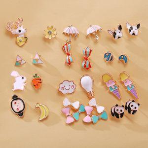 Panda de dibujos animados Stud Pendientes de dulces pendientes pendientes de las muchachas Frutas