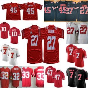 Mens Ohio State Buckeyes Eddie George calcio maglie Archie Griffin Ted Ginn Jr. A.J. Hawk Jack Tatum Ryan Shazier Buckeyes Jersey S-3XL