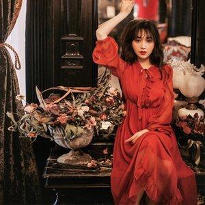 Yaz Plaj Elbise Şifon Fener Kollu Kırmızı Fransız Tarzı Moda Parti Akşam Balo Fırfır Elbiseler 9309