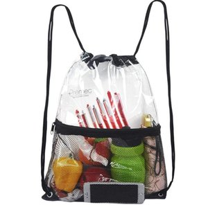 50pcs Shoe Transparent PVC Bag Backpack With Mesh Drawstring Sport School Beach Waterproof Outdoor Lhlfl